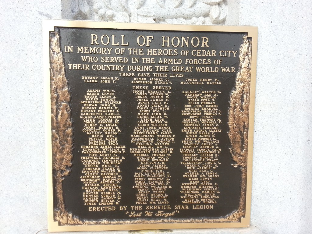 Listing of the soldiers who fought in the war from Cedar City, including the six who died.